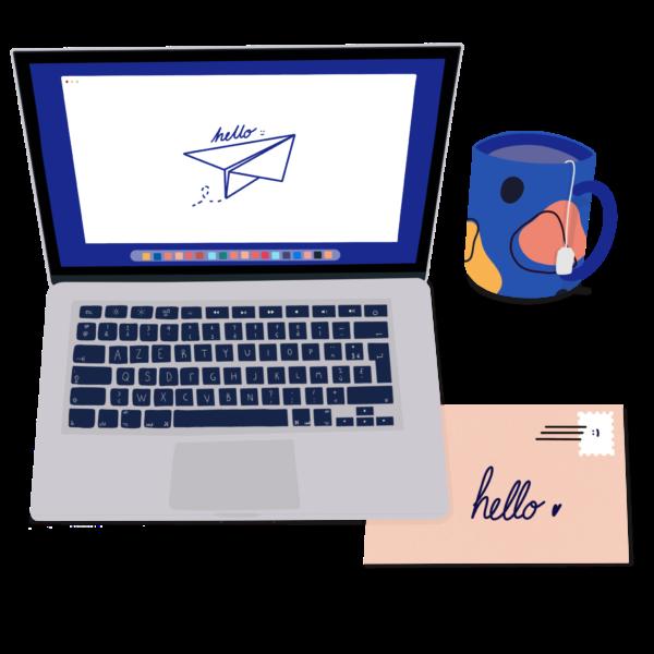 contact - illustration d'un ordinateur, d'une tasse et d'une enveloppe