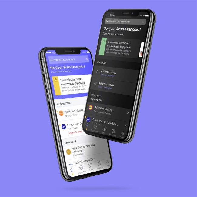 digiposte - écrans application